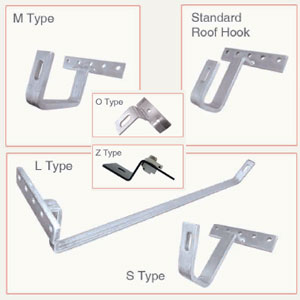 Roof Hooks and accessories for Solar Collector Installation